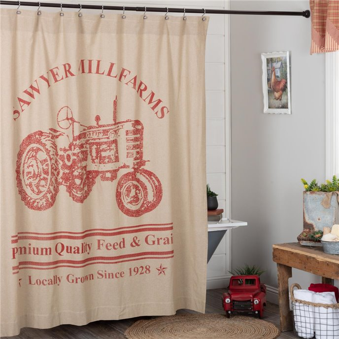 Sawyer Mill Red Tractor Shower Curtain 72x72 Thumbnail