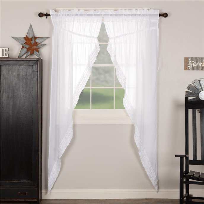 White Ruffled Sheer Prairie Long Panel Set of 2 84x36x18 Thumbnail