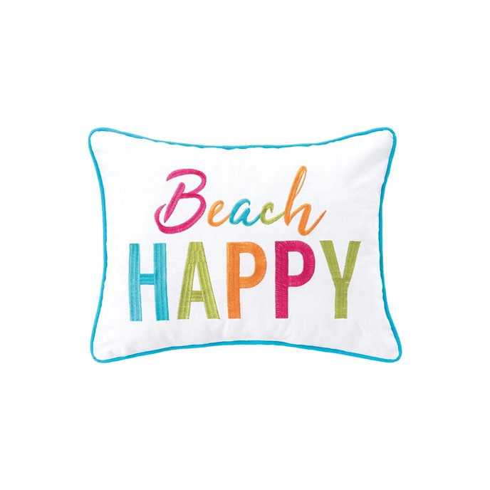 Beach Happy Embroidered Pillow Thumbnail