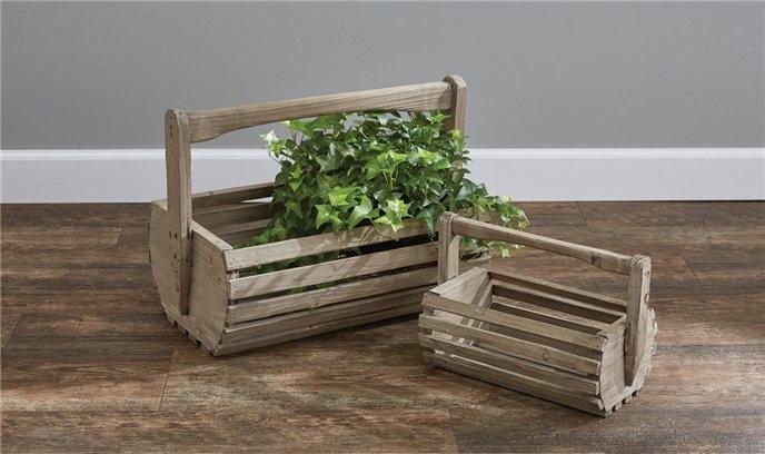 Rustic Wood Baskets Set of 2 Thumbnail