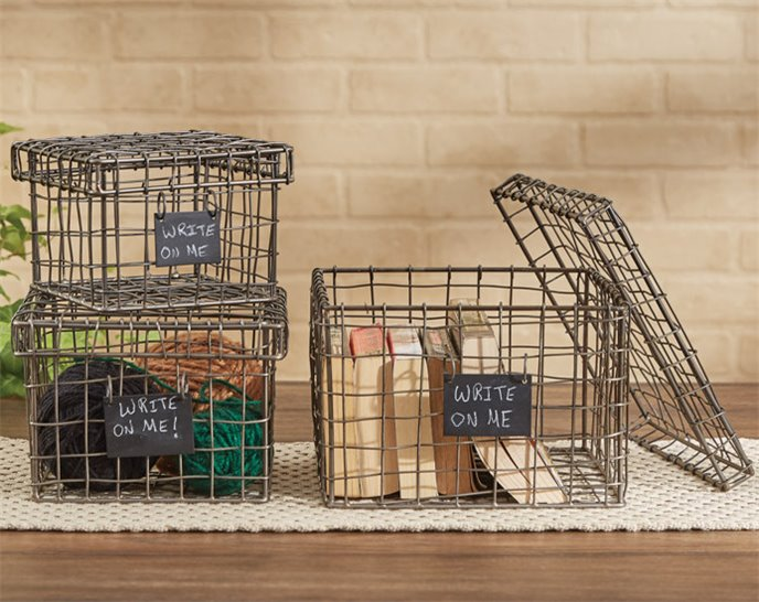 Wire Storage Boxes with Chalkboard Tags - Set of 3 Assorted Sizes Thumbnail