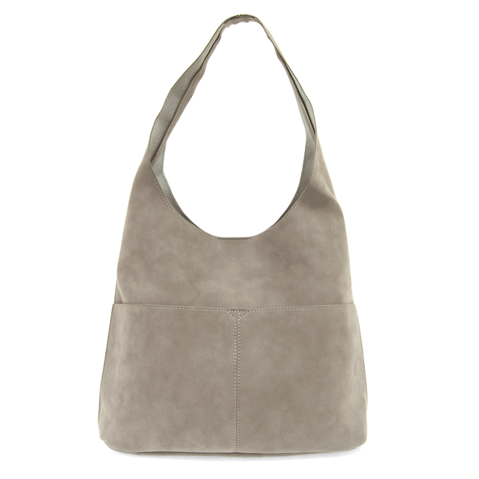 Stone Grey Jenny Sueded Hobo Handbag Thumbnail