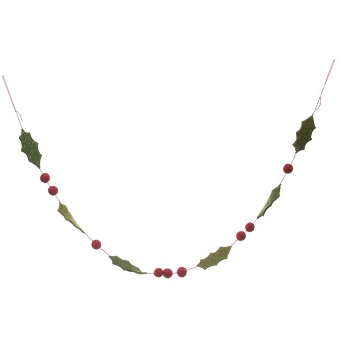 "Red and Green Holly and Berry Felt Christmas Tree Garland 59"" Thumbnail"