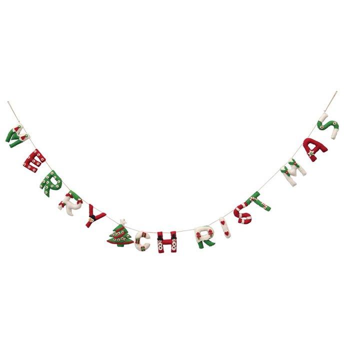 "Whimsical Wool Felt Applique Merry Christmas Banner 72"" Thumbnail"