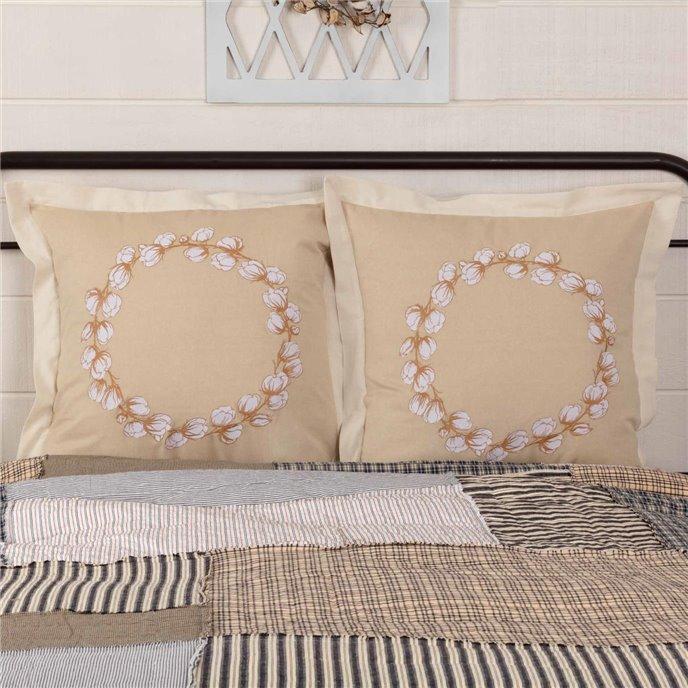 Ashmont Cotton Wreath Fabric Euro Sham Set of 2 26x26 Thumbnail