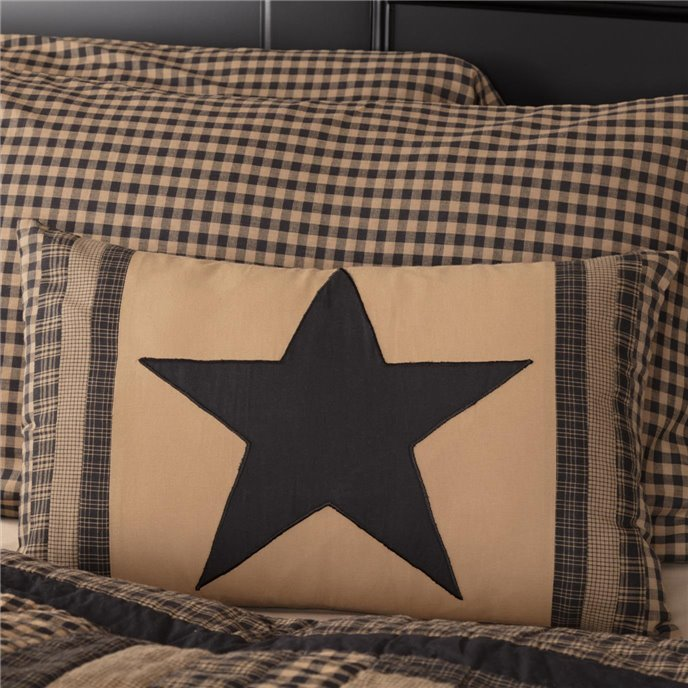 Black Check Star Patch Pillow 14x22 Thumbnail