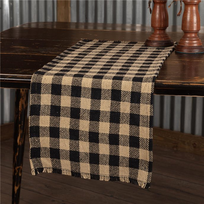 Burlap Black Check Runner Fringed 13x48 Thumbnail