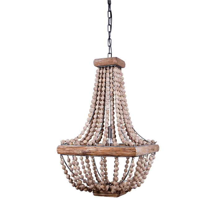Wood & Metal Framed Chandelier with Wood Bead Draping Thumbnail