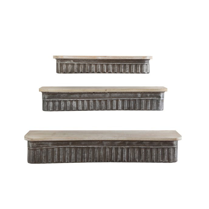 Metal & Wood Wall Shelves (Set of 3 Sizes) Thumbnail