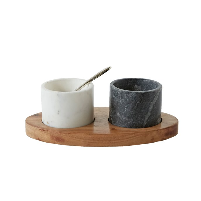 Marble Bowls on Mango Wood Tray with Brass Salt Spoon (Set of 4 Pieces) Thumbnail