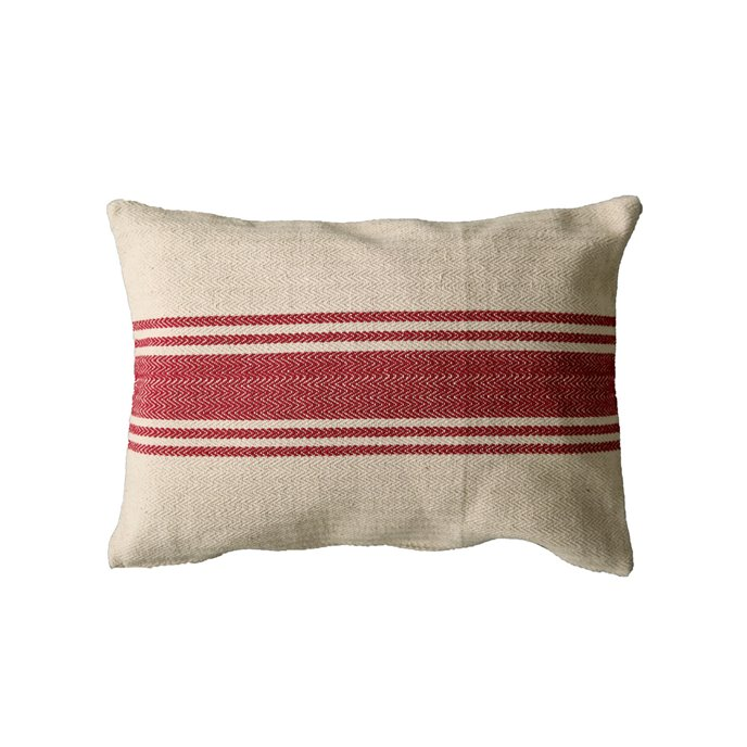 Cream Cotton Canvas Pillow with Red Stripes Thumbnail