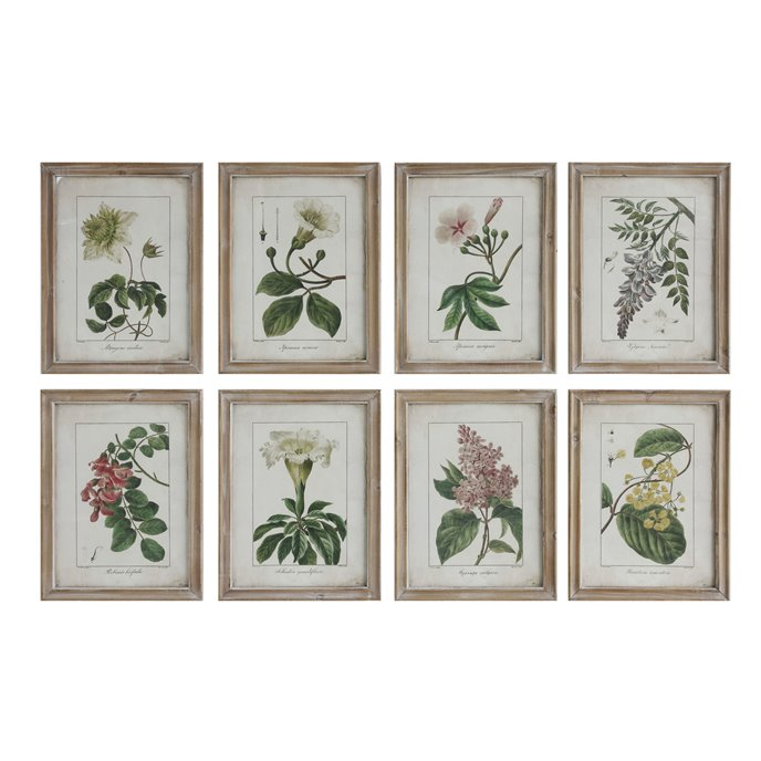 Wood Framed Wall Décor with Floral Image Reproductions (Set of 8 Designs) Thumbnail