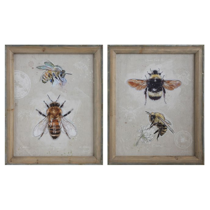 Wood Framed Canvas Wall Art with Bee Images (Set of 2 Designs) Thumbnail