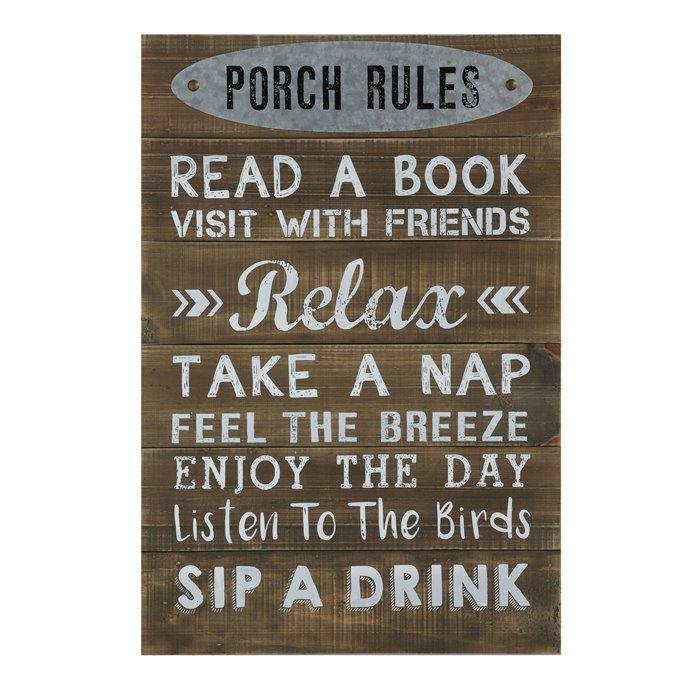 """Porch Rules ..."" Wood Wall Décor Thumbnail"