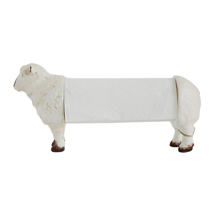 Distressed White Resin Sheep Paper Towel Holder Thumbnail