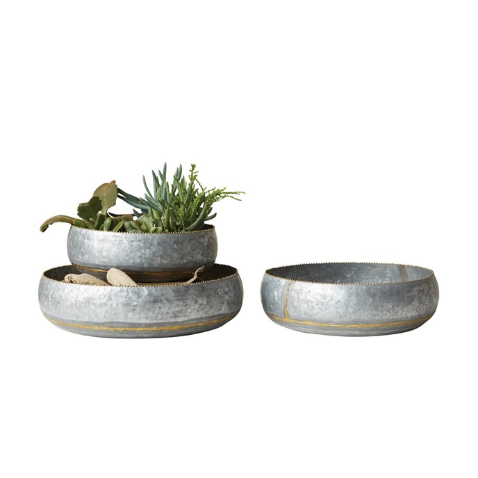 Set of 3 Decorative Metal Bowls/Planters Thumbnail