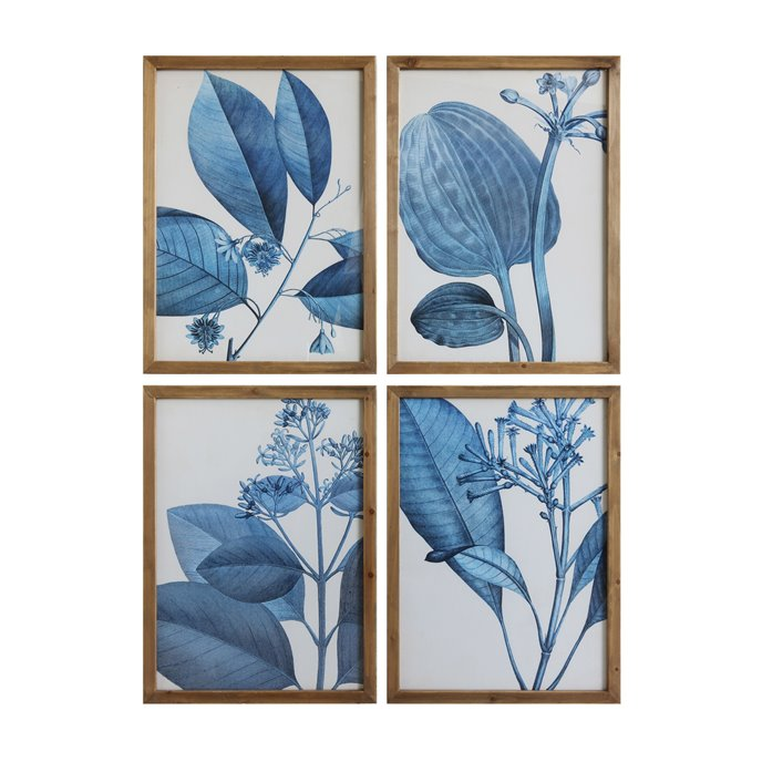 Wood Framed Blue Botanical Wall Décor (Set of 4 Designs) Thumbnail