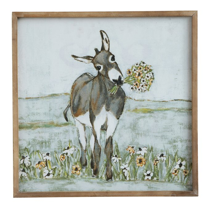 Donkey Wall Décor in Wood Frame Thumbnail