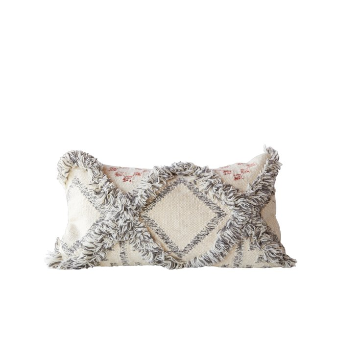 Wool Cream Kilim Pillow with Grey Fringe Accents Thumbnail