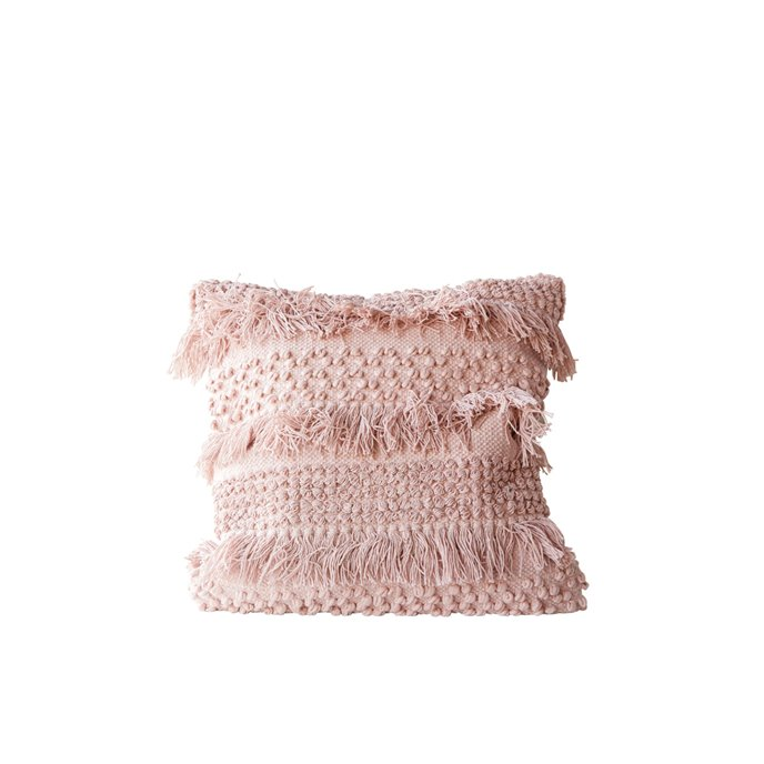 Square Pink Pillow with Fringe and Multiple Designs with Varied Textures Thumbnail