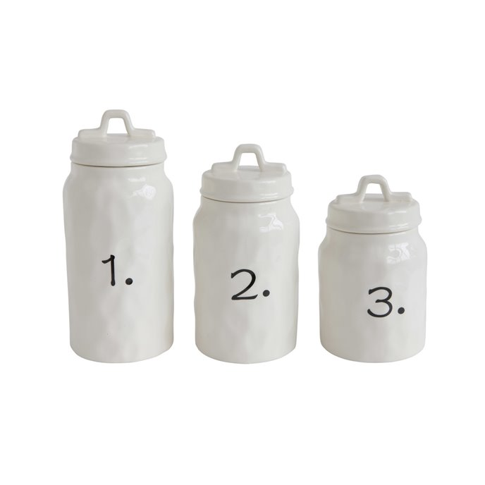 White Ceramic Canisters with Numbers (Set of 3 Sizes) Thumbnail