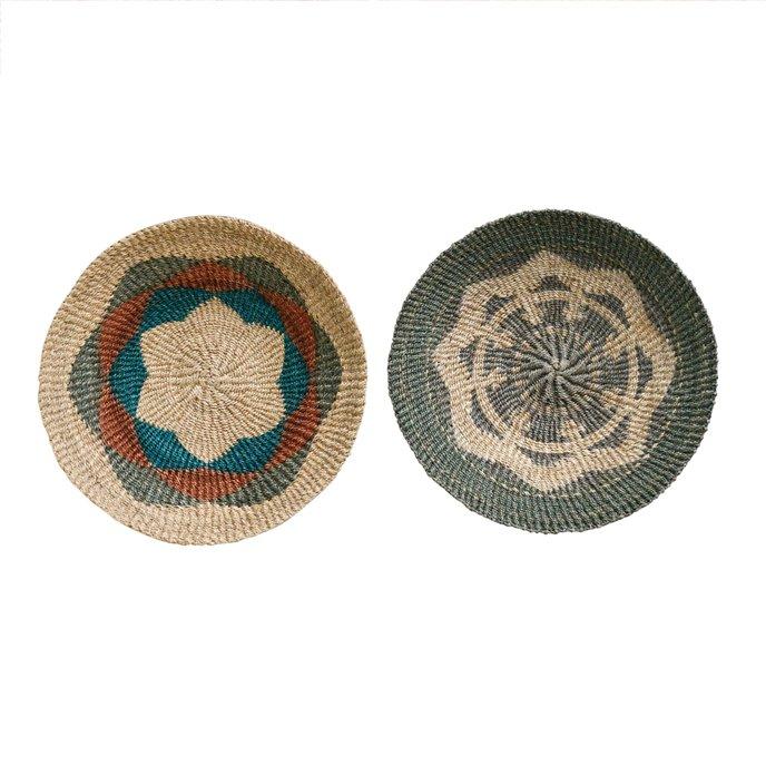 Medium Handwoven Abaca Wall Baskets (Set of 2 Styles) Thumbnail