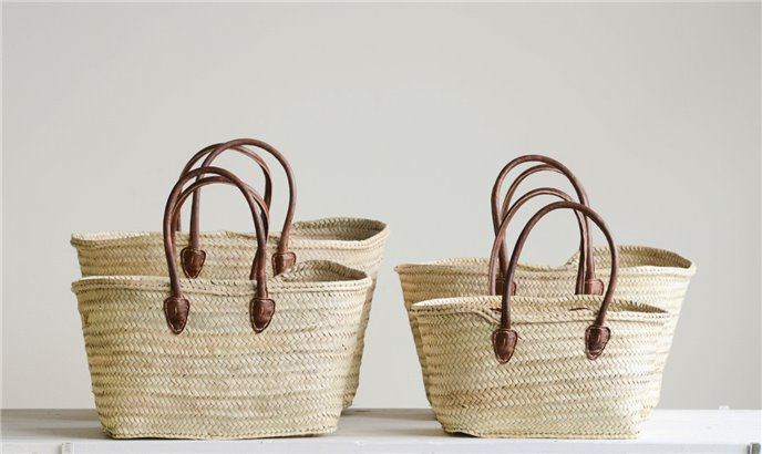 Handwoven Moroccan Baskets with Leather Handles (Set of 4 Sizes) Thumbnail
