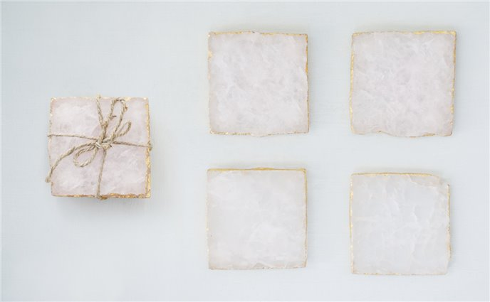 Set of 4 Pink Agate Coasters with Foil Trim Thumbnail