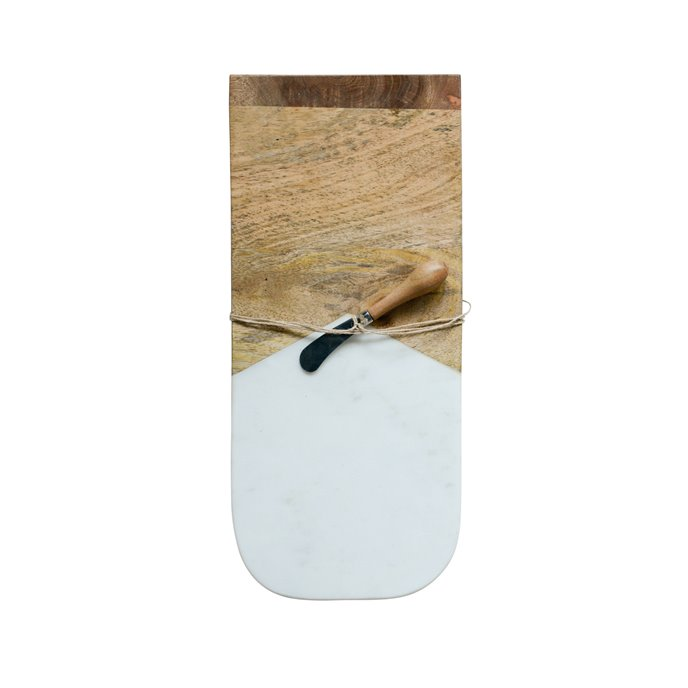Marble & Mango Wood Cutting Board with Canape Knife (Set of 2 Pieces) Thumbnail