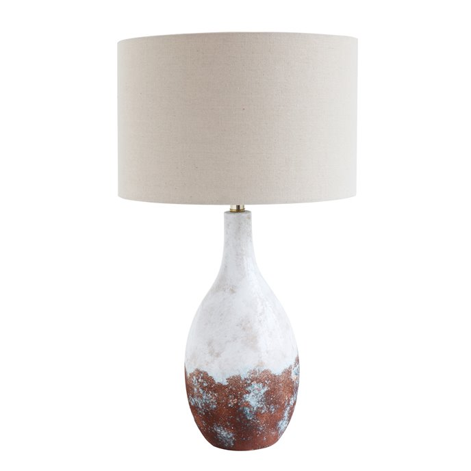 2-Tone Ceramic Table Lamp with Linen Shade (Each one will vary) Thumbnail