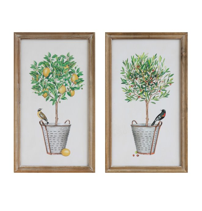 Wood Framed Wall Décor with Potted Plants & Birds (Set of 2 Designs) Thumbnail