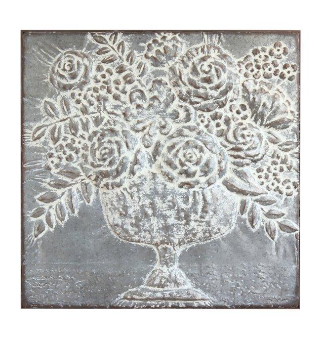 Square Metal Floral Bouquets Wall Décor Thumbnail
