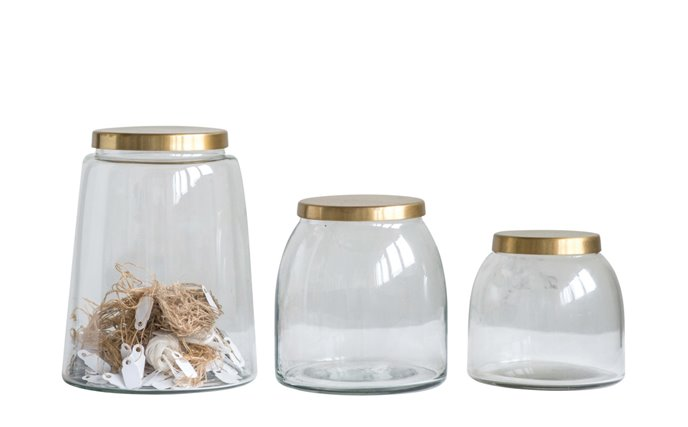 Round Glass Jars with Brass Finish Lids (Set of 3 Sizes) Thumbnail