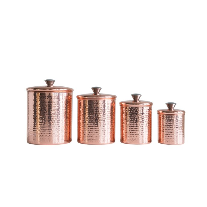 Hammered Stainless Steel Canisters with Lids in Copper Finish (Set of 4 Sizes) Thumbnail