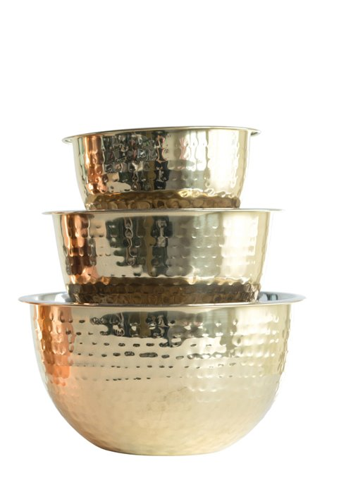 Hammered Stainless Steel Bowls in Gold Finish (Set of 3 Sizes) Thumbnail