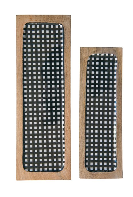 Black Gingham Enameled Mango Wood Trays (Set of 2 Sizes) Thumbnail
