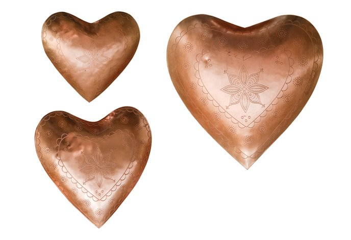 Decorative Embossed Metal Heart Dishes (Set of 3 Sizes) Thumbnail