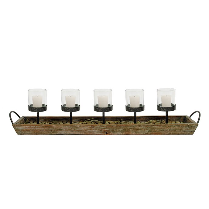 5 Metal Votive Candleholders in Rectangle Wood Tray with Handles Thumbnail
