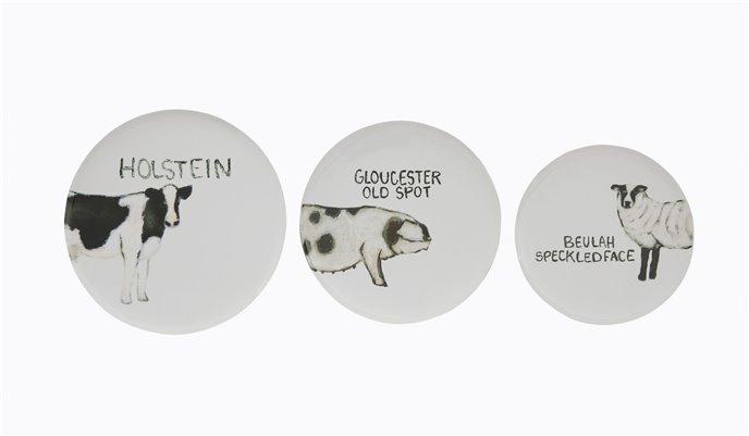 Round Tin Trays with Farm Animal Images (Set of 3 Sizes/Designs) Thumbnail