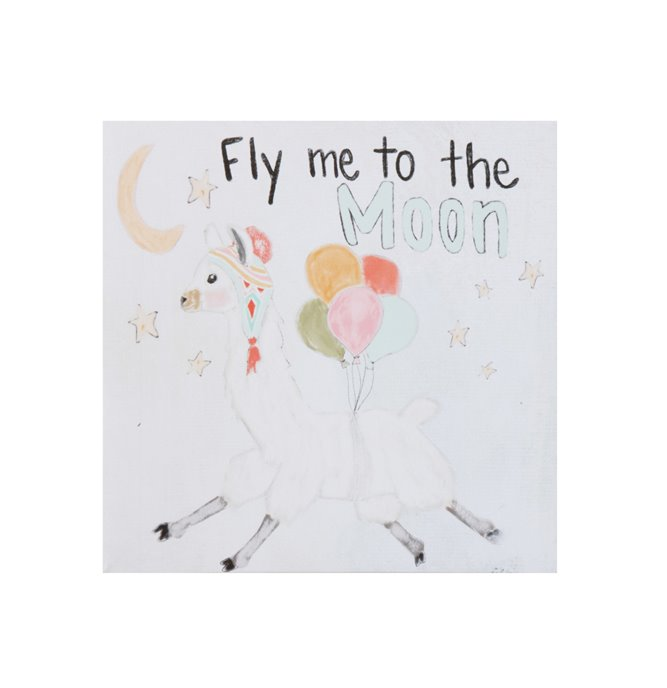 """""""Fly Me to the Moon"""" Square Canvas Wall Décor with Llama Image Thumbnail"""
