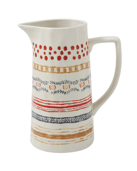 Red, Beige & Blue Striped Stoneware Pitcher Thumbnail