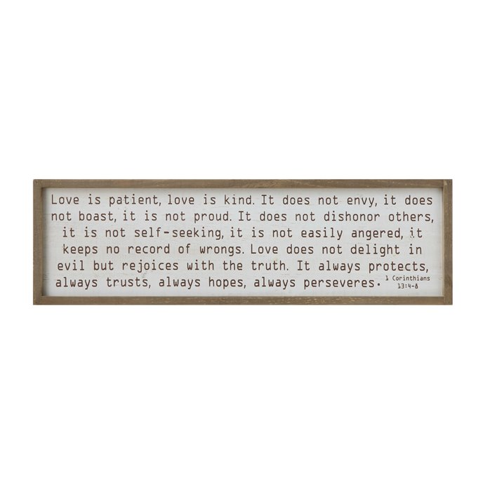 """""""Love is patient…"""" Wood Framed Wall Décor Thumbnail"""