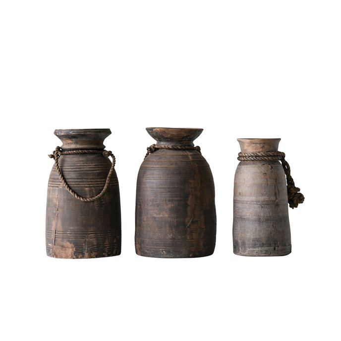Large Found Decorative Wood Container with Rope (Each one will vary) Thumbnail