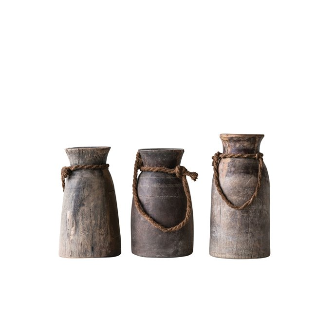 Small Found Decorative Wood Container with Rope (Each one will vary) Thumbnail
