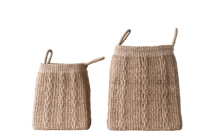 Square Abaca Baskets with Handles (Set of 2 Sizes) Thumbnail