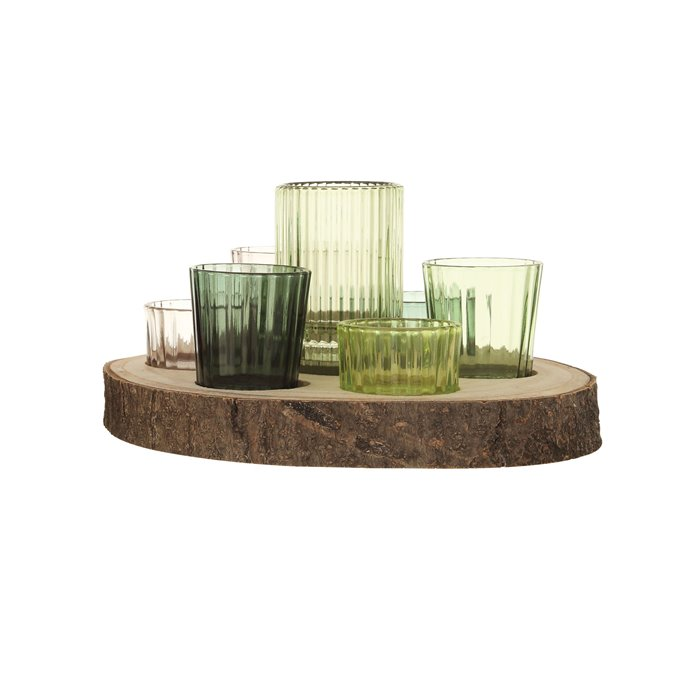 Paulownia Wood Slice with 7 Glass Votive Holders (Set of 8 Pieces) Thumbnail