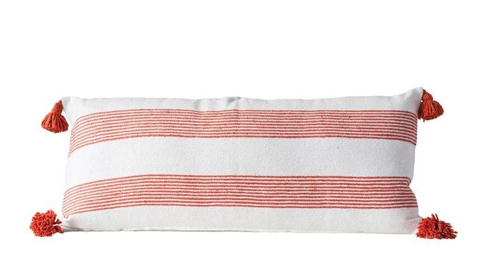 Rectangle White & Orange Striped Cotton Pillow with Orange Tassels Thumbnail