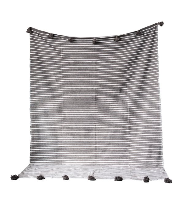 Grey & White Cotton Bed Cover with Grey Pom Poms Thumbnail