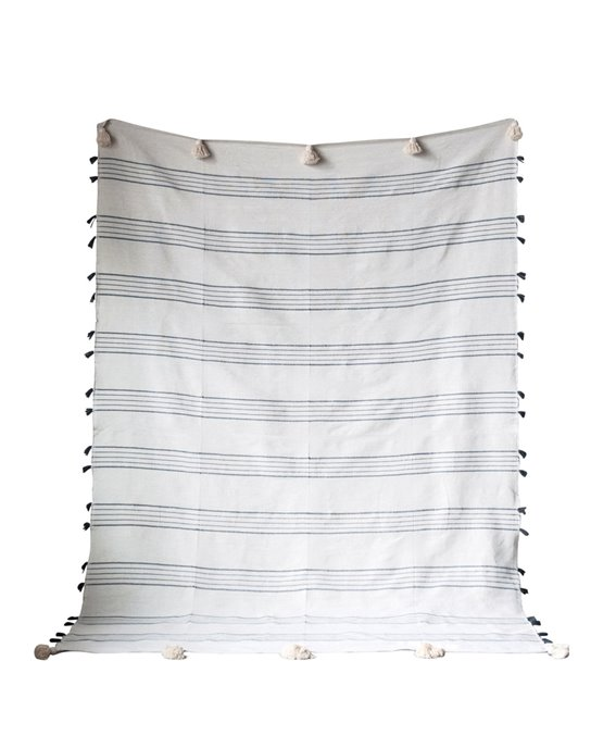Grey & White Striped Hand-Loomed Cotton Bed Cover with Tassels Thumbnail