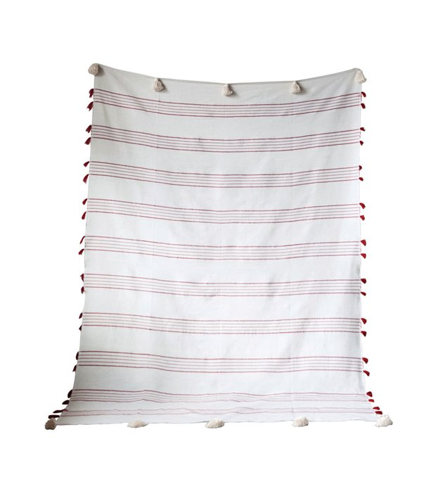 Red & White Striped Hand-Loomed Cotton Bed Cover with Tassels Thumbnail